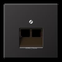 LSmetal Накладка для комп. розетки 2хRJ45, dark (лакир.алюм.)
