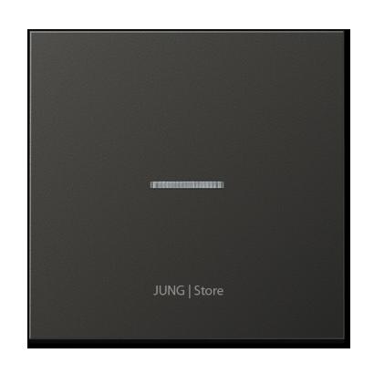 LSmetal Клавиша 1-ная с линзой, антрацит.