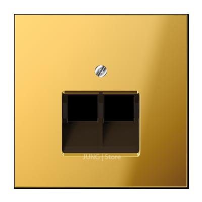 LSmetal Накладка для комп. розетки 2хRJ45, золот.