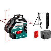 KRAFTOOL LL360 #4 нивелир лазерный, 2х360°, 20м/70м, IP54, точн. +/-0,2 мм/м, держатель, детектор