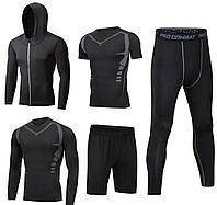 Рашгард черный 5 в 1 (верх длинный рукав, майка, шорты, верх с капюшоном, низ-трико)