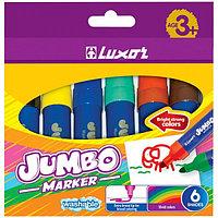 """Фломастеры Luxor """"Jumbo"""" 6 цветов, утолщённые, смываемые, в картонной коробке, европодвес"""