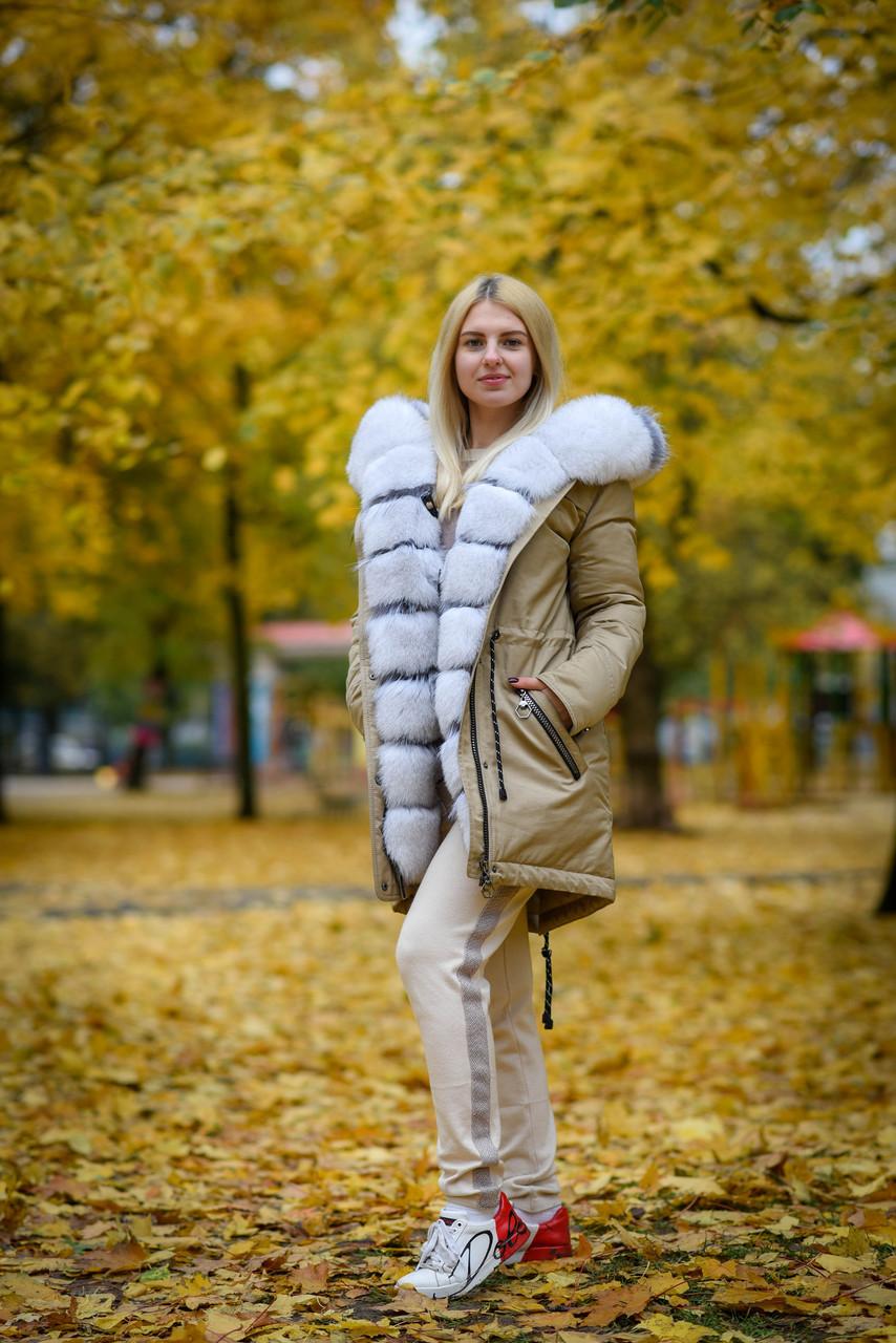 Женская парка с натуральным мехом