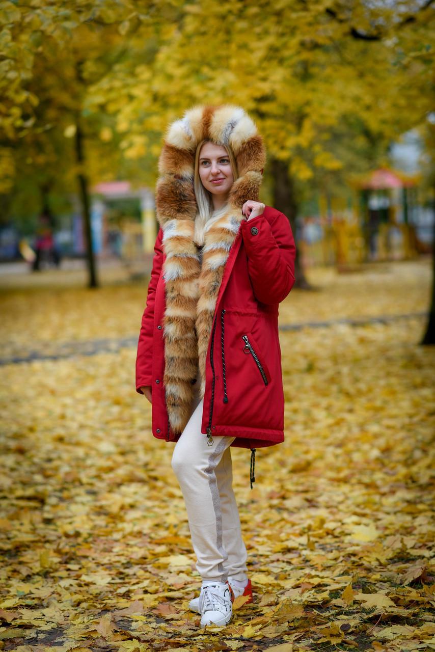 Женская зимняя парка с мехом рыжей лисы