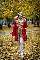 Красная зимняя парка с лисой, размер 48 - L