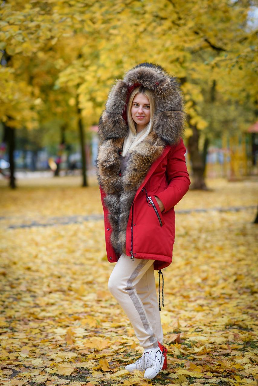 Зимняя женская парка с мехом енота
