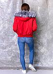 Красная женская парка с мехом чернобурки, фото 3