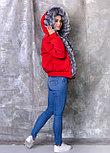 Красная женская парка с мехом чернобурки, фото 4