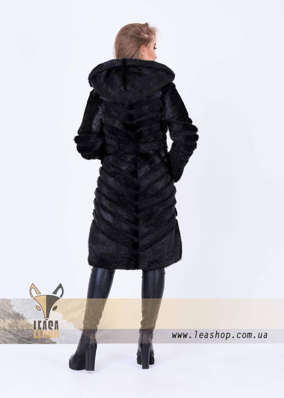 Женская зимняя шуба с диагональным замшевым расшивом - фото 3
