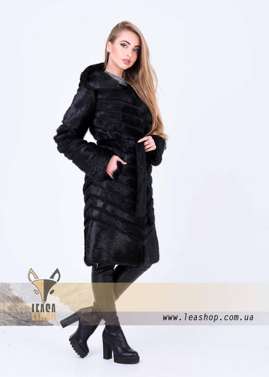 Женская зимняя шуба с диагональным замшевым расшивом - фото 4