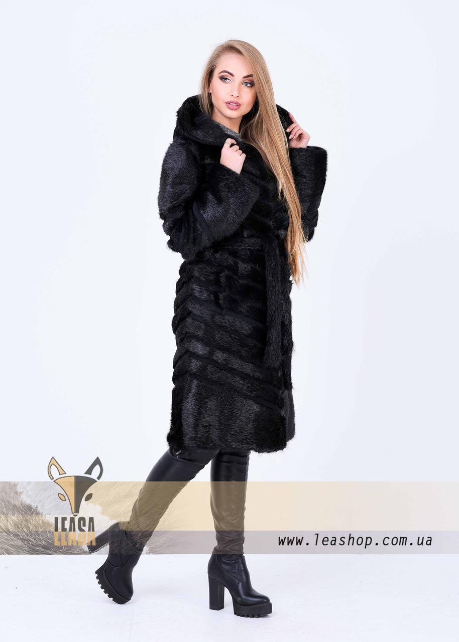 Женская зимняя шуба с диагональным замшевым расшивом - фото 5