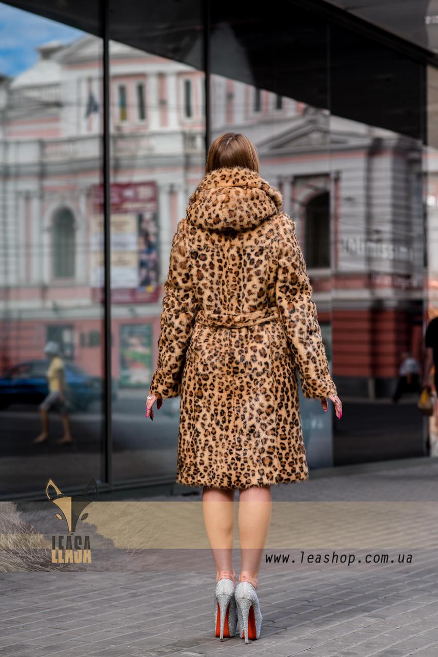 Леопардовая шуба   натуральный мех - фото 3