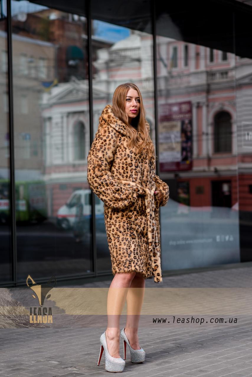 Леопардовая шуба   натуральный мех - фото 4