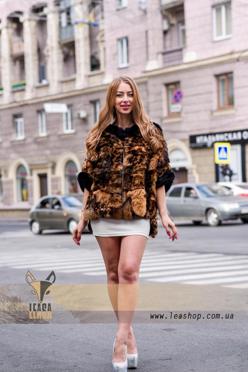 Леопардовый полушубок - натуральный мех - фото 1