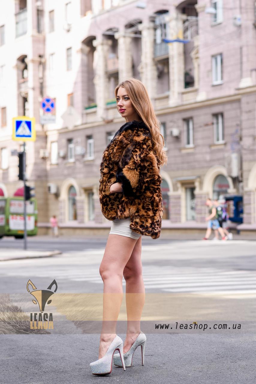 Леопардовый полушубок - натуральный мех - фото 2