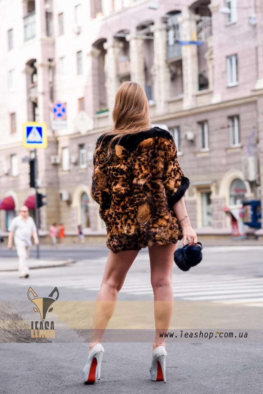 Леопардовый полушубок - натуральный мех - фото 3