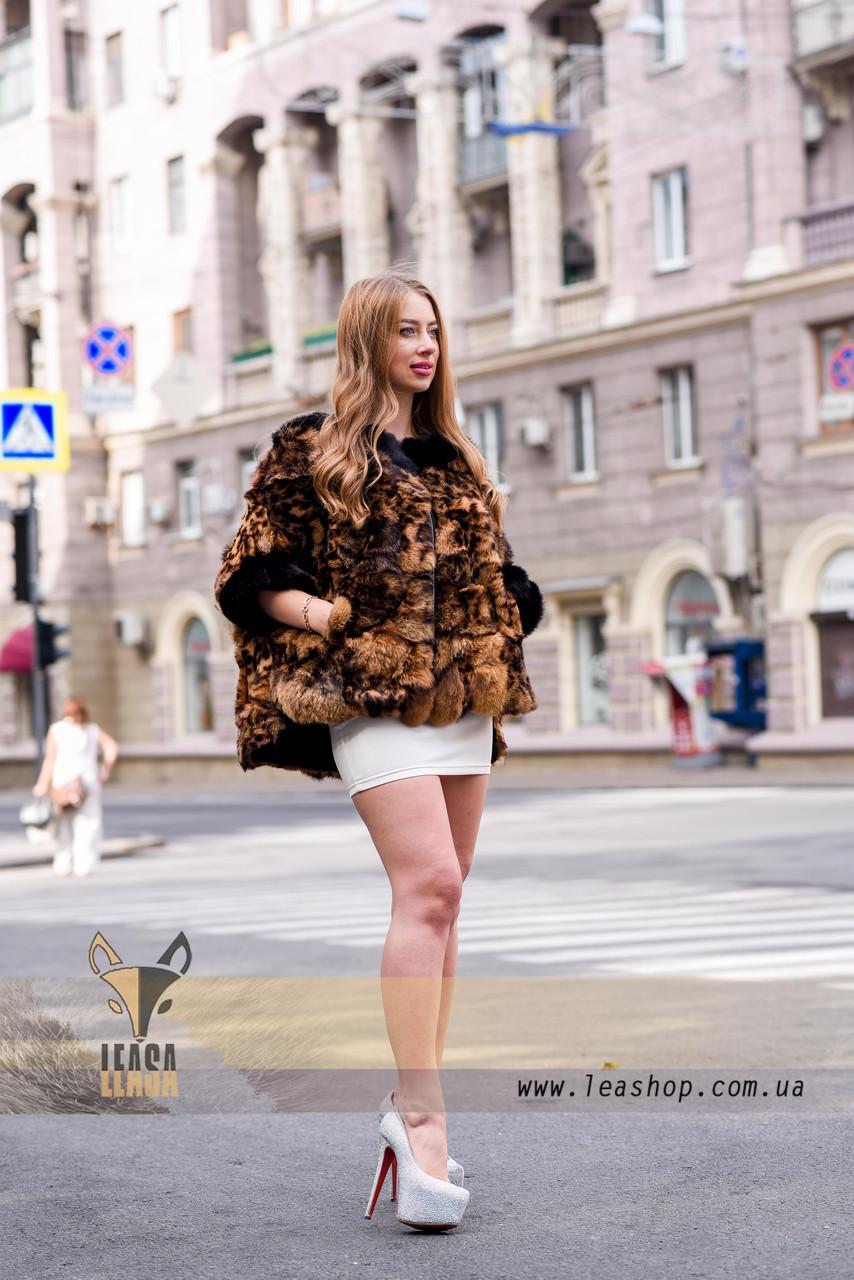 Леопардовый полушубок - натуральный мех - фото 4