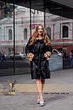 Черная шуба с леопардовыми манжетами и капюшоном, фото 3