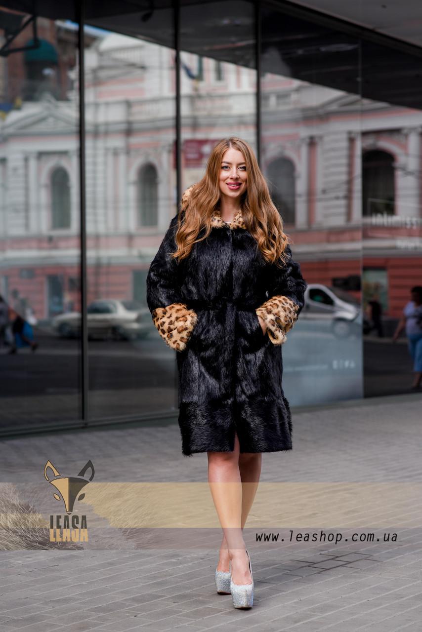 Черная шуба с леопардовыми манжетами и капюшоном - фото 3