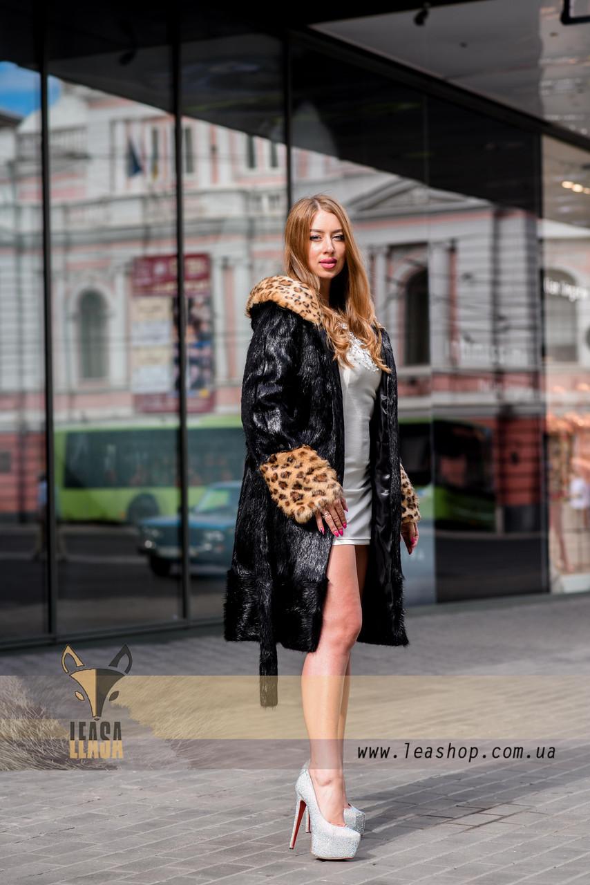 Черная шуба с леопардовыми манжетами и капюшоном - фото 5