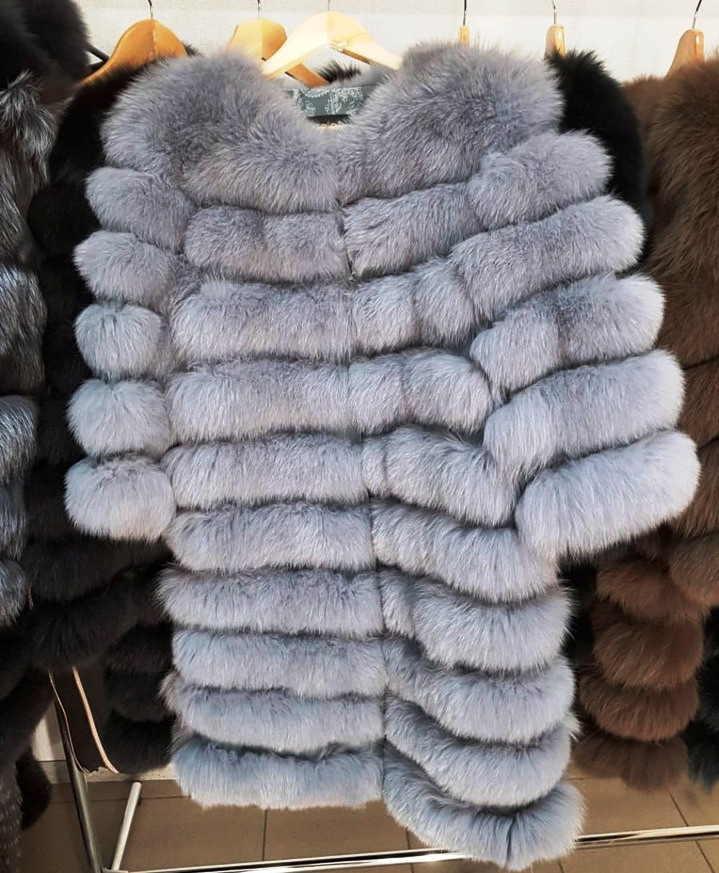 Женская шуба из пепельного песца | купить онлайн в ЛЕАШОП - фото 1