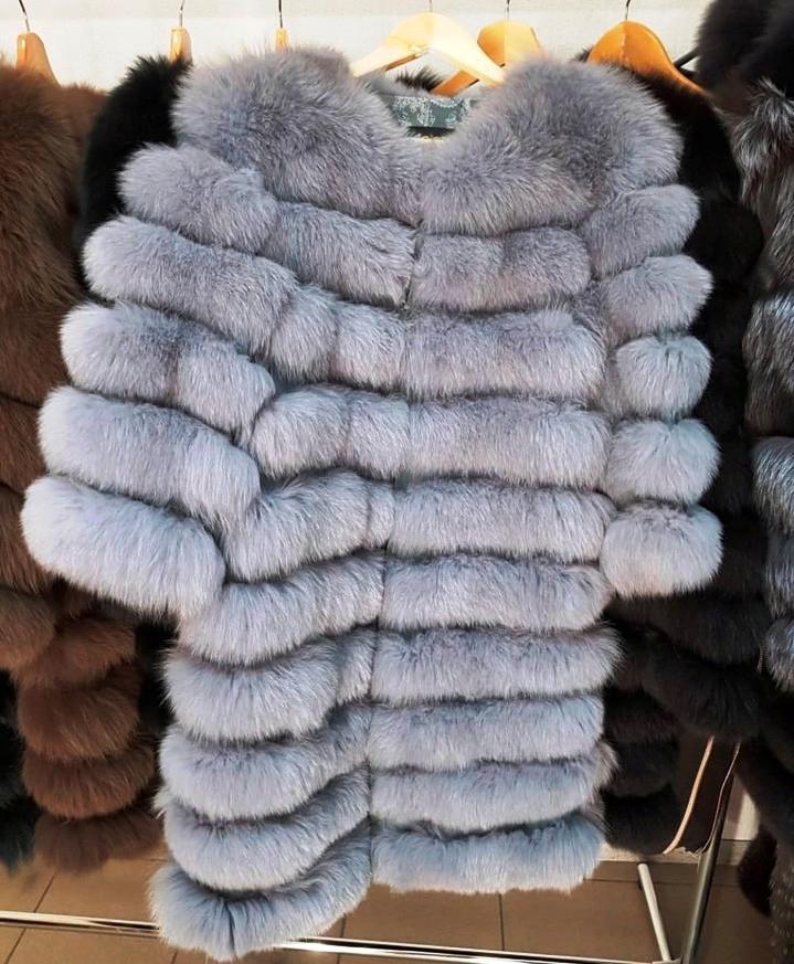 Женская шуба из пепельного песца | купить онлайн в ЛЕАШОП - фото 3