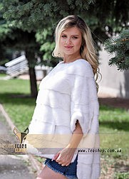 Меховой свитер из натуральной норки белого цвета, оттенок жемчуг