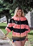 Женский меховой бомбер - свитер, фото 3