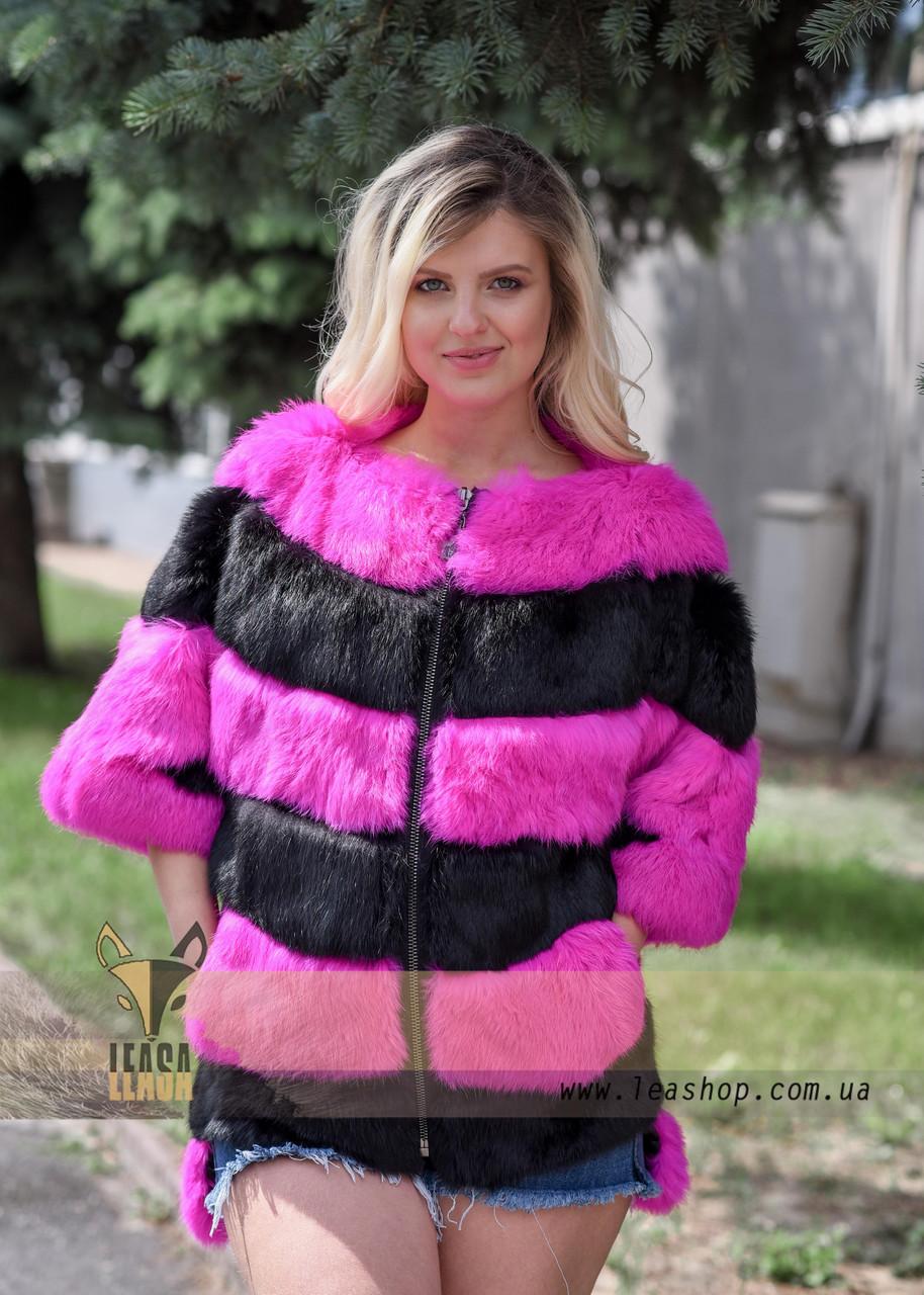 Яркий меховой бомбер для стильных Украинских девушек - фото 3