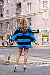 Полосатый меховой полушубок для модниц, фото 4