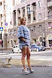 Голубая женская шубка, демисезонный вариант, фото 2