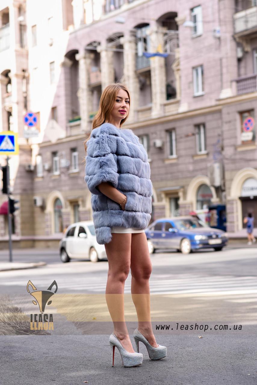 Голубая женская шубка, демисезонный вариант - фото 2