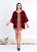 Бордовый меховой свитер на змейке