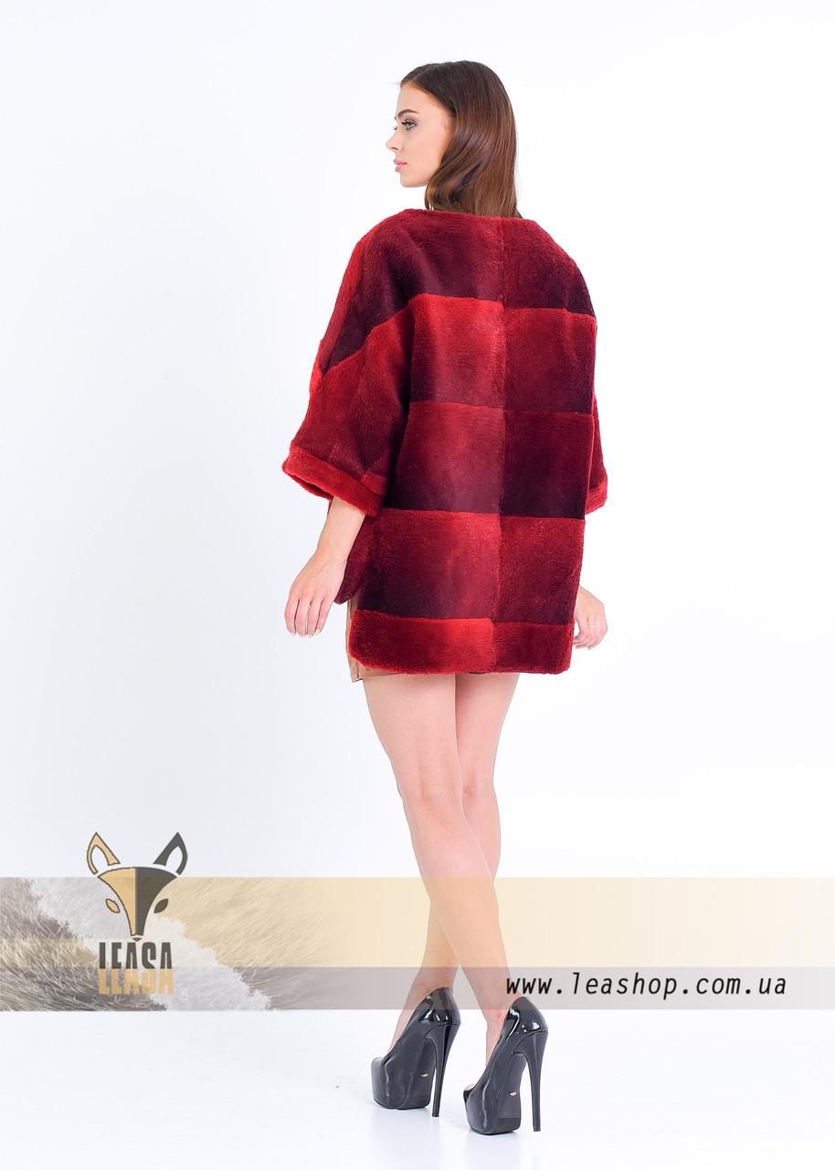 Бордовый меховой свитер на змейке - фото 2