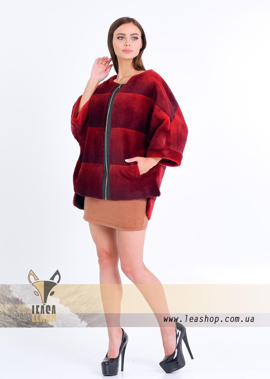 Бордовый меховой свитер на змейке - фото 3