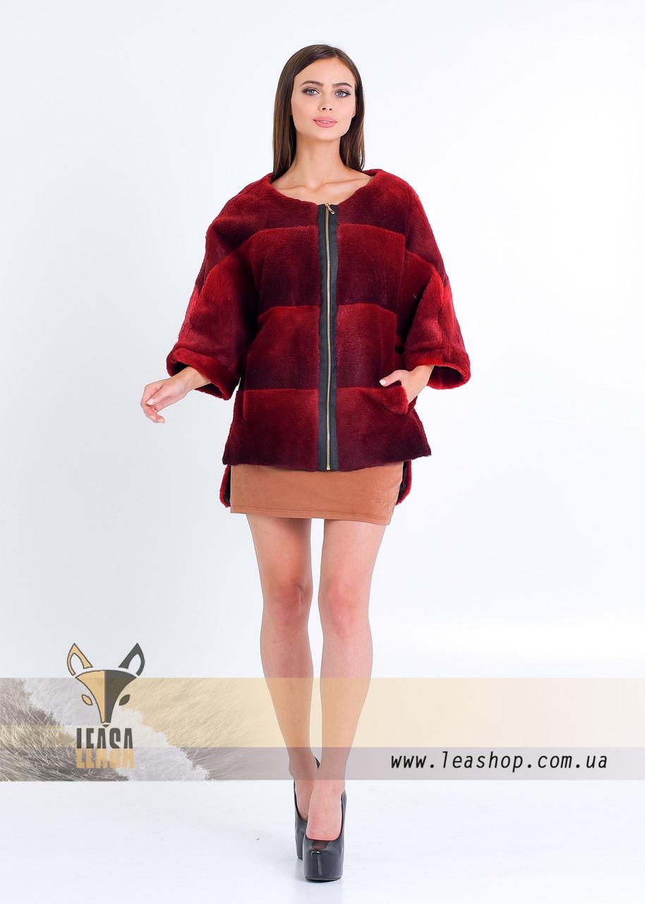 Бордовый меховой свитер на змейке - фото 4