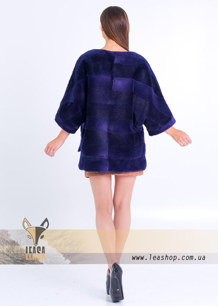 Меховой свитер под норку цвета индиго - фото 2