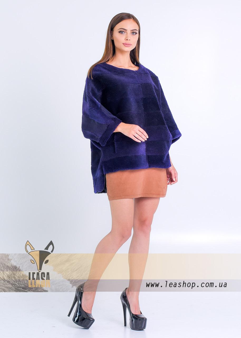 Меховой свитер под норку цвета индиго - фото 3