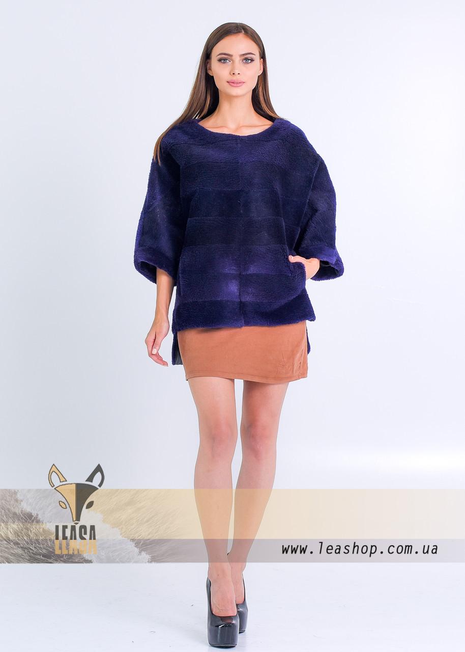 Меховой свитер под норку цвета индиго - фото 4