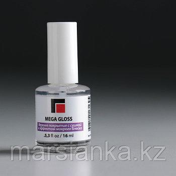 Верхнее покрытие Mega Gloss с сушкой и эффектом мокрого блеска Milv, 16мл