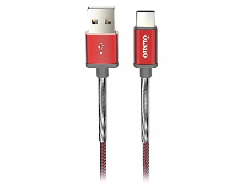 Кабель OLMIO HD, USB 2.0 - USB Type-C, 1.2м, 2.1A, красный