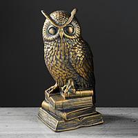 """Копилка """"Сова на книгах"""", бронзовый цвет, 30 см,, фото 1"""