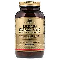 Омега 3-6-9, Солгар, 1300 мг, 120 мягкие таблетки