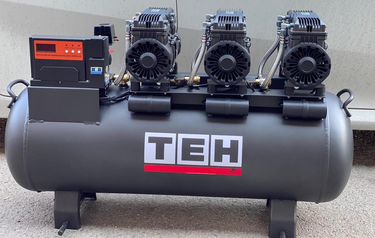ТЕН 4,5квт, 100л, 600л/мин, бесшумный, езмасленный, воздушный компрессор