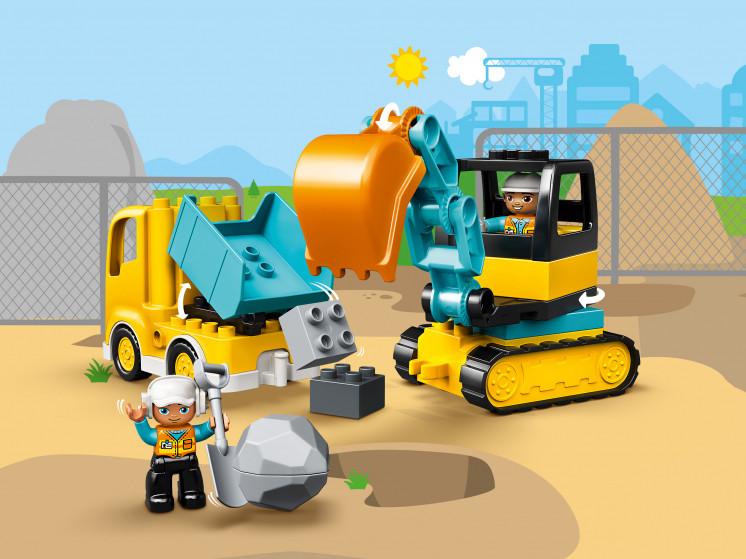 LEGO DUPLO 10931 Грузовик и гусеничный экскаватор, конструктор ЛЕГО - фото 1