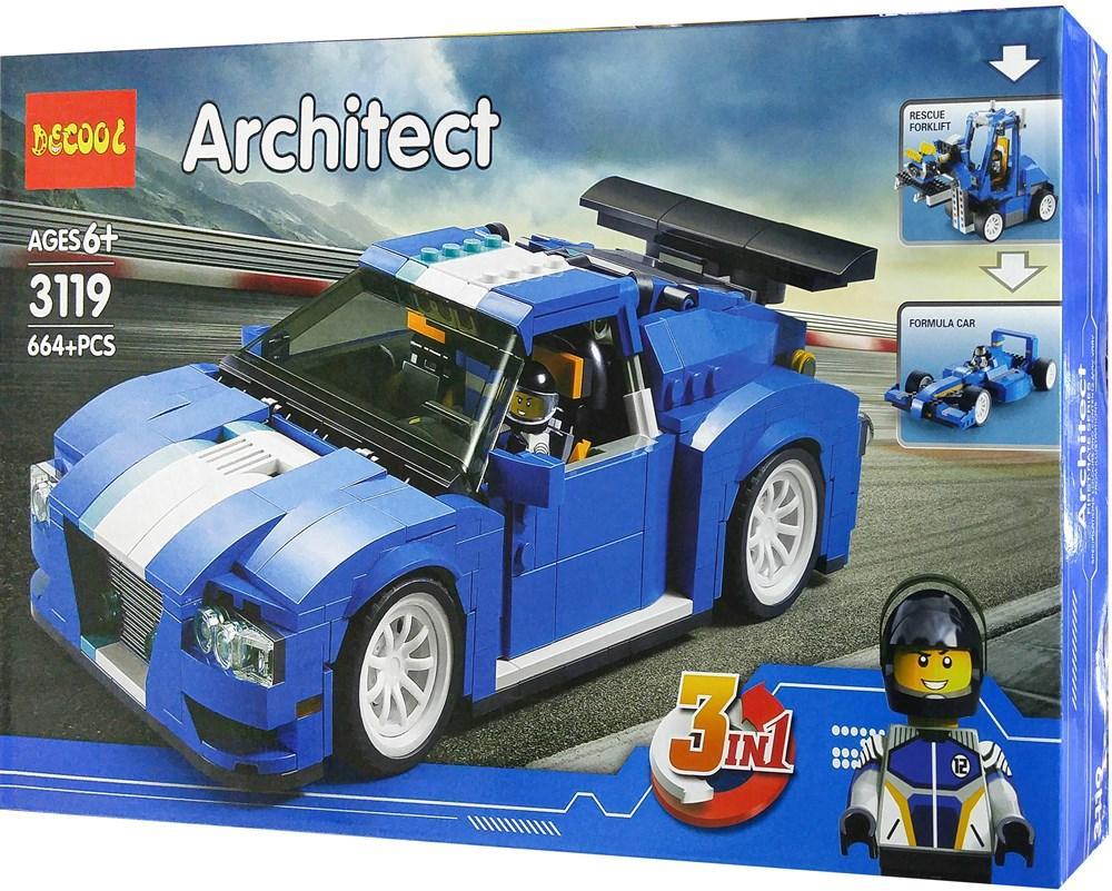 """Decool Architect 3119 Конструктор 3 в 1 """"Гоночный автомобиль"""" (Аналог LEGO)"""