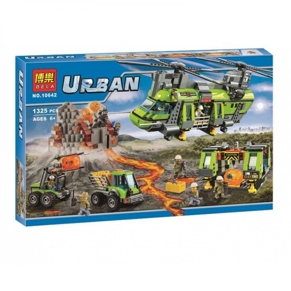 """Bela Urban 10642 Конструктор """"Грузовой вертолет исследователей вулканов"""" (Аналог LEGO 60125)"""