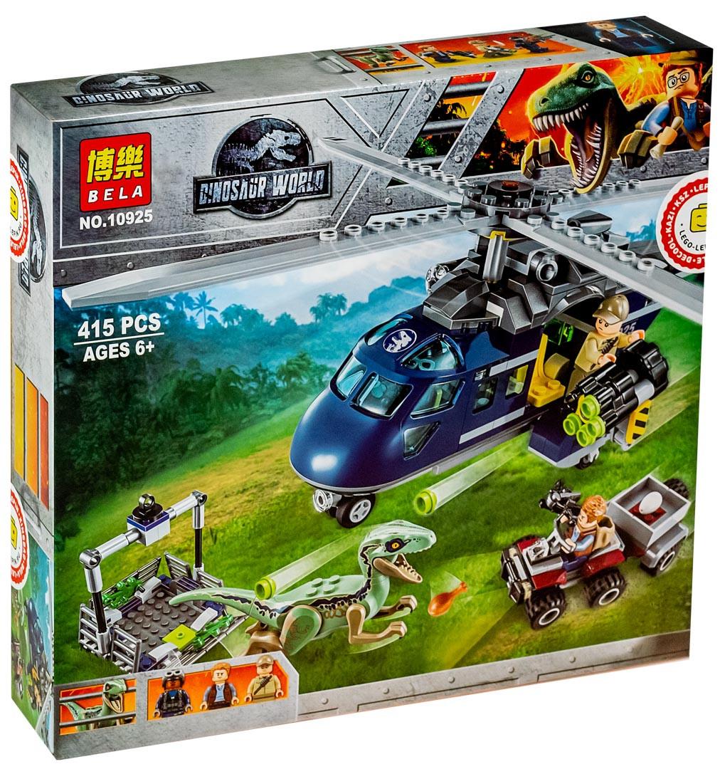 "Bela Dinosaur World 10925 Конструктор ""Погоня за Блю на вертолёте"" (Аналог LEGO 75928)"