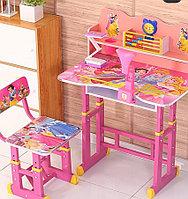 Детская растущая парта и стульчик принцессы 555