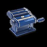 Оптом Marcato Design Atlas 150 Color Blu механическая тестораскатка - лапшерезка с насадкой для резки лапши, фото 2